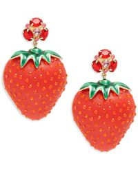DANNIJO Women's Bari Goldplated Strawberry Drop Earrings - Red