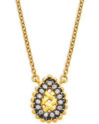 Freida Rothman Sterling Silver & Cubic Zirconia Lattice Small Teardrop Pendant Necklace - Metallic