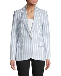 L'Agence Women's Scout Striped Blazer - Light Blue - Size 0