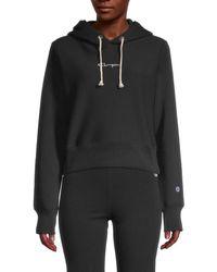 Champion Women's Logo Cotton-blend Hoodie - Black - Size Xs