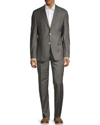 Versace Modern-fit Solid Stretch-wool Suit - Grey