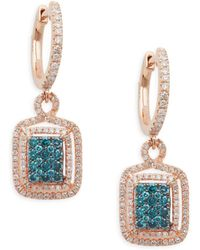 Effy - 14k Rose Gold, Blue & White Diamond Hoop Drop Earrings - Lyst