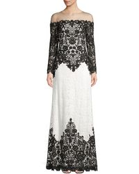 Tadashi Shoji Lace Long-sleeved Illusion Gown - Black