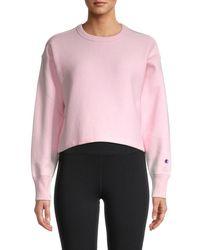 Champion Women's Reverse Weave Cropped Sweatshirt - Black - Size S