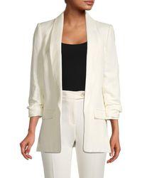 Tommy Hilfiger Women's Open-front Linen-blend Blazer - Ivory - Size 10 - White