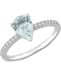 Saks Fifth Avenue Women's 14k White Gold, Aquamarine & Diamond Ring - Size 7 - Metallic