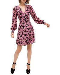 Kate Spade Women's Floral Silk Chiffon Long-sleeve Dress - Black - Size 0