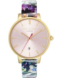 Ted Baker - Kate Round Stainless Steel And Floral-print Leather Strap Watch - Lyst