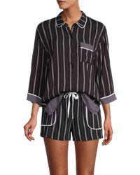 DKNY 2-piece Striped Boxer Pyjama Set - Black