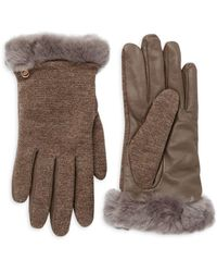UGG Mixed Media Faux Fur & Shearling-trimmed Gloves - Multicolour
