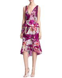 Marchesa Orchid Silk Organza Ruffle Dress - Multicolour