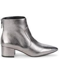 Karl Lagerfeld Women's Metallic Leather Booties - Silver - Size 6