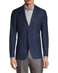 Saks Fifth Avenue Mini-check Wool-blend Sport Jacket - Blue