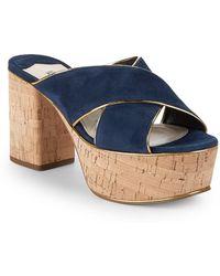 830337b1bf0 Lyst - Prada Satin Crisscross Wedge Sandal in Blue