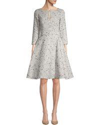 Oscar de la Renta Sequin Silk Fit-&-flare Dress - Metallic