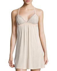 Eberjey - Desiree Floral-lace Solid Chemise - Lyst