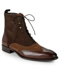 Mezlan Brogue Leather Boots - Brown