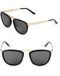 Smoke X Mirrors Pusherman 52mm Square Browline Sunglasses - Black