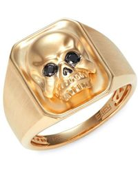 Effy Men's 14k Yellow Gold & Black Diamond Skull Ring - Size 10