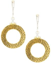 Gurhan Women's 24k Goldplated Sterling Silver Hammered Drop Hoop Earrings - Metallic