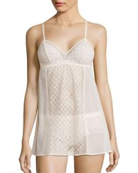 DKNY - Sheer Lace Chemise And Thong Set - Lyst