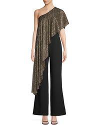 Trina Turk Eastern Luxe Koi Metallic One-shoulder Jumpsuit - Black
