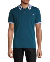 Ben Sherman Men's Contrast Collar Short-sleeve Polo - Blue - Size S