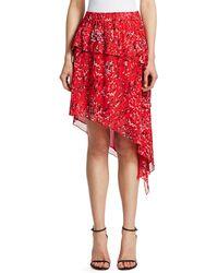 IRO Blink Tiered Asymmetric Midi Skirt