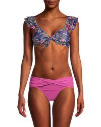 OndadeMar Women's Sipan Floral Tie Bikini Top - Blue - Size S