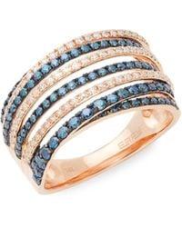 Effy 14k Rose Gold Diamond Multi-band Ring - Metallic