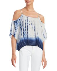 French Connection - Tie-dye Print Cold-shoulder Top - Lyst