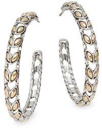"""John Hardy - Padi 18k Yellow Gold & Sterling Silver Hoop Earrings/1.5"""" - Lyst"""