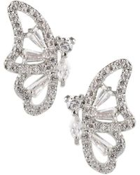 CZ by Kenneth Jay Lane Women's Animal Trend Rhodium-plated & Crystal Butterfly Earrings - Metallic