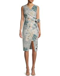 ABS By Allen Schwartz - Sleeveless Floral Knee-length Dress - Lyst