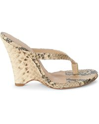 Yeezy Python-print Embossed Leather Wedge Sandals - White