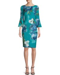 CALVIN KLEIN 205W39NYC - Floral Bell-sleeve Dress - Lyst