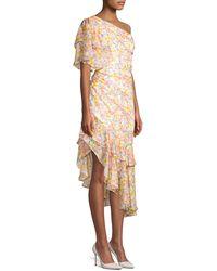 AMUR - Clayton Floral One-shoulder Ruffle Dress - Lyst