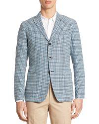 Saks Fifth Avenue Collection Slim-fit Hatch Stitch Plaid Sport Coat - Blue