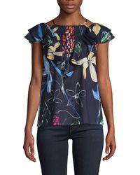 Parker - Floral-print Ruffled Top - Lyst