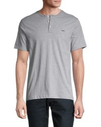 Michael Kors Men's Henley T-shirt - Heather Gray - Size S