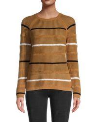 Calvin Klein Women's Stripe Open -weave Jumper - Soft White - Size L - Multicolour