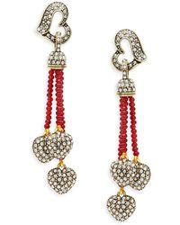 Heidi Daus Goldtone & Crystal Beaded Heart Drop Earrings - Multicolour