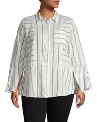 Two By Vince Camuto Plus Striped Cotton Button-down Shirt - Multicolour