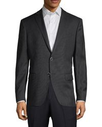 John Varvatos Men's Notch-lapel Modern-fit Wool Sportcoat - Charcoal - Size 40 R - Gray