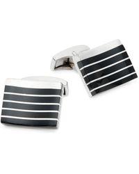 Tateossian Rhodium-plated & Black Onyx Square Cufflinks