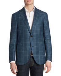 Luciano Barbera - Slim-fit Windowpane Wool, Silk & Linen Sportcoat - Lyst