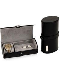 Bey-berk Leather Watch & Cufflinks Travel Case - Black