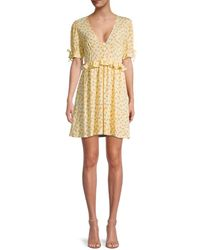 BCBGeneration Floral Puff-sleeve Dress - Yellow