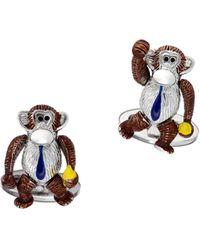 Jan Leslie Sterling Silver Moving Monkey Cufflinks - Metallic