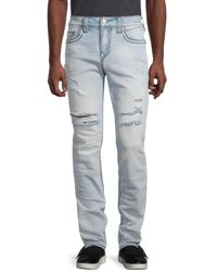 True Religion Rocco Ripped Relaxed Skinny Jeans - Blue
